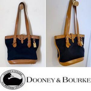 DOONEY & BOURKE navy/tan leather shoulder bag